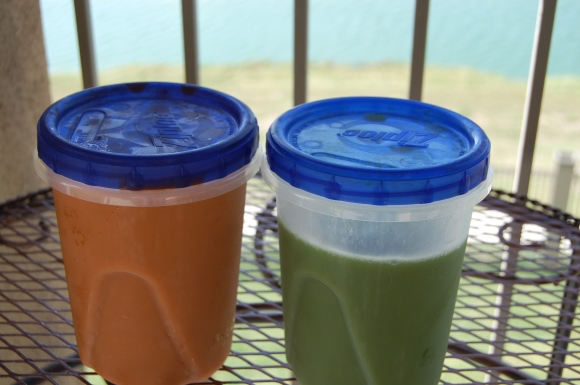 Carrot and Cucumber Kale Juices